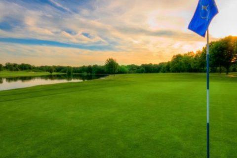 golf green sunset