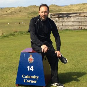 "Mark Zecchino at the Royal Portrush 14th hole ""Calamity Corner"""